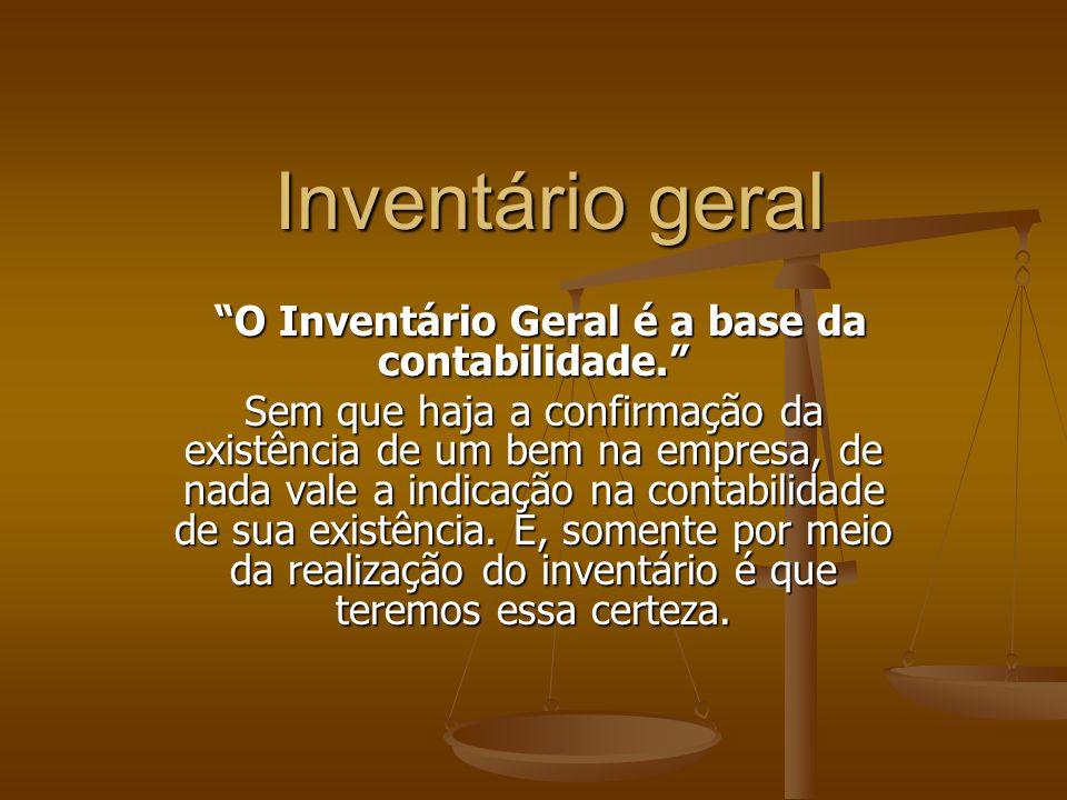 O Inventário Geral é a base da contabilidade.