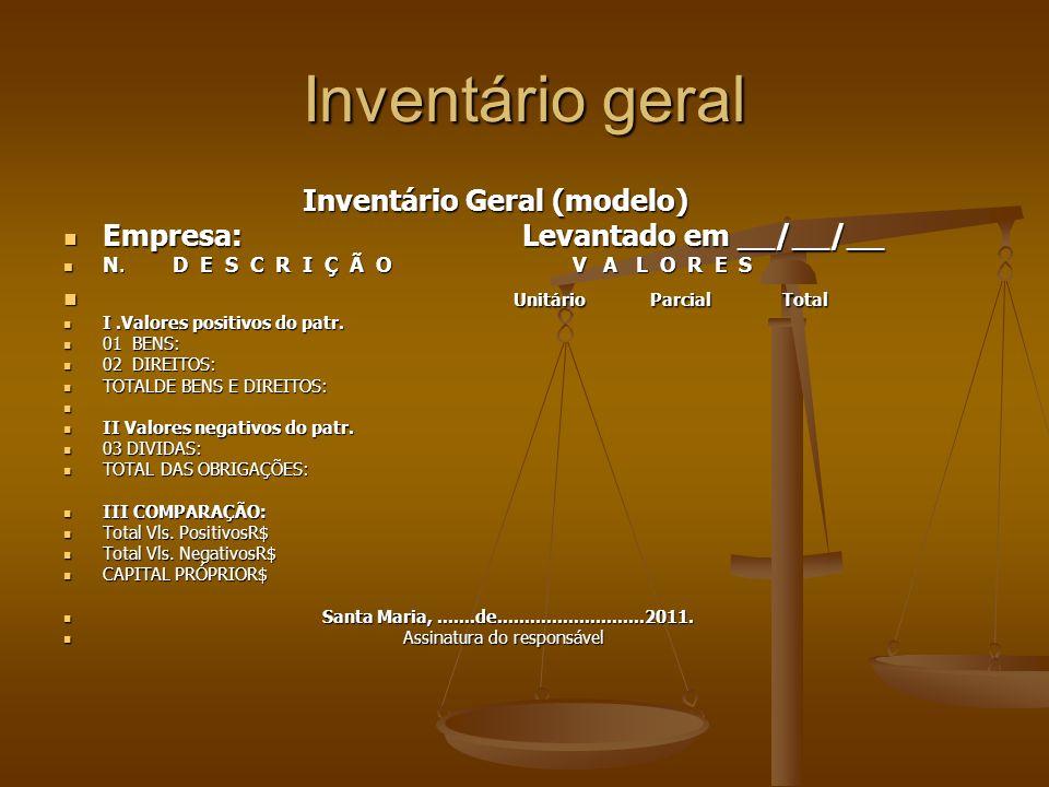 Inventário geral Inventário Geral (modelo)