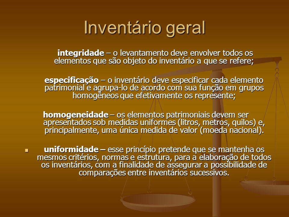 Inventário geral integridade – o levantamento deve envolver todos os elementos que são objeto do inventário a que se refere;