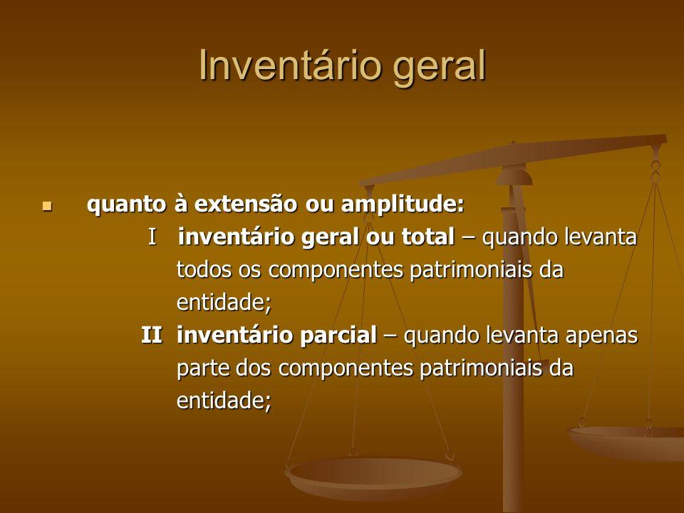 Inventário geral quanto à extensão ou amplitude: