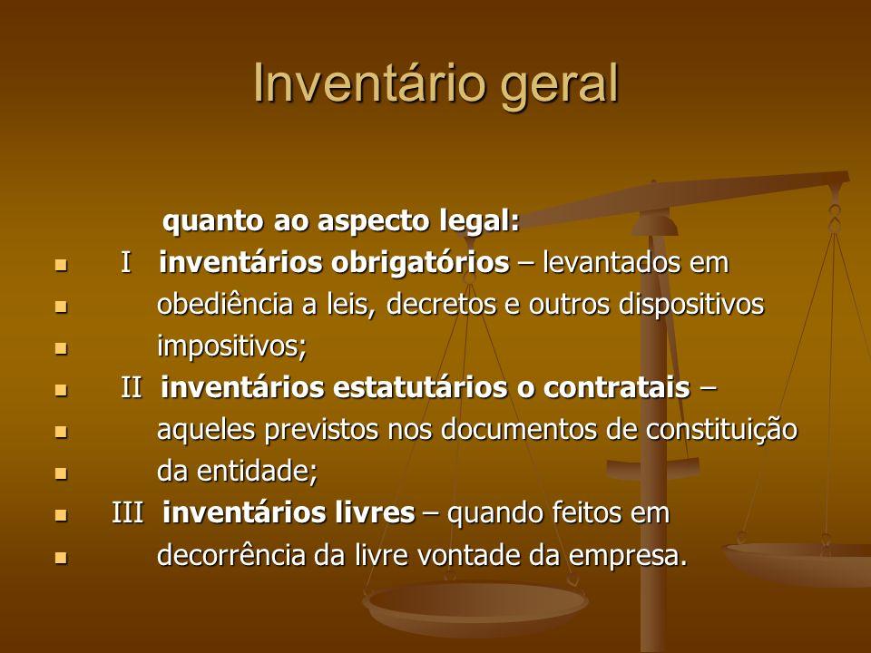 Inventário geral quanto ao aspecto legal: