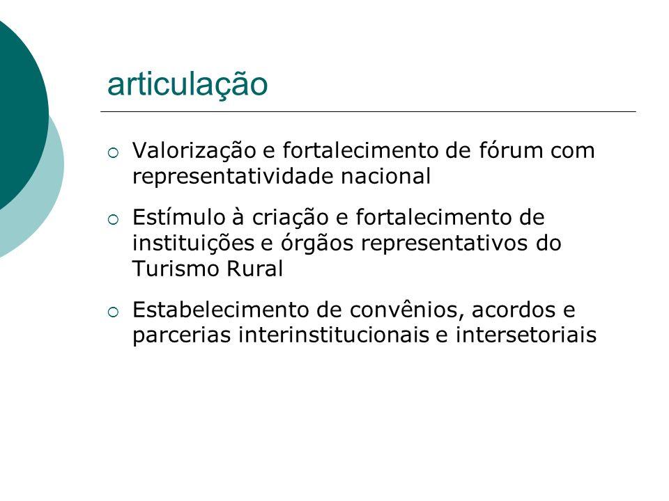 articulaçãoValorização e fortalecimento de fórum com representatividade nacional.
