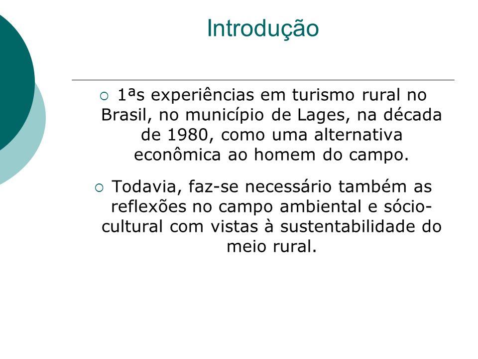 Introdução 1ªs experiências em turismo rural no Brasil, no município de Lages, na década de 1980, como uma alternativa econômica ao homem do campo.