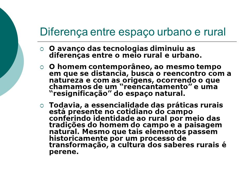 Diferença entre espaço urbano e rural