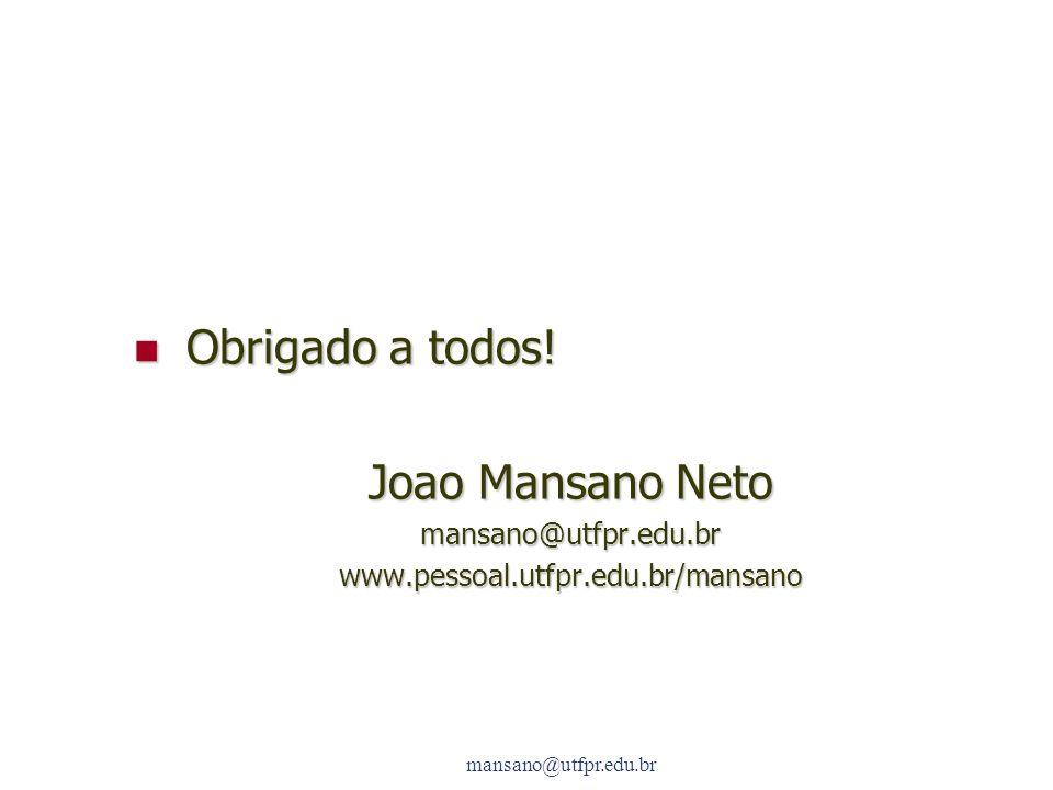 Obrigado a todos! Joao Mansano Neto mansano@utfpr.edu.br