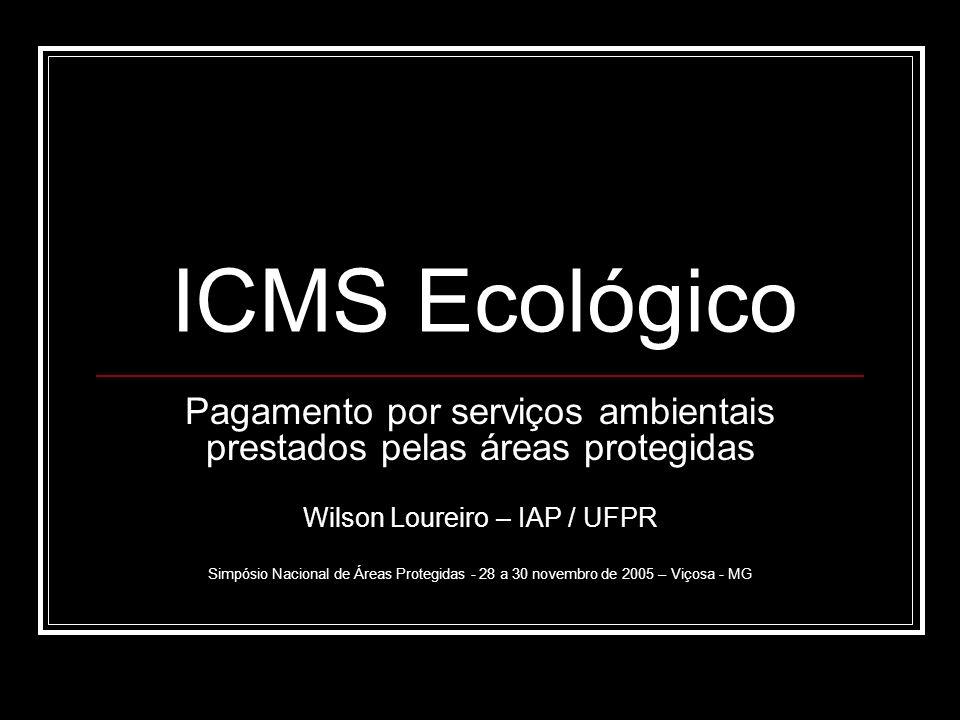 ICMS Ecológico Pagamento por serviços ambientais prestados pelas áreas protegidas. Wilson Loureiro – IAP / UFPR.