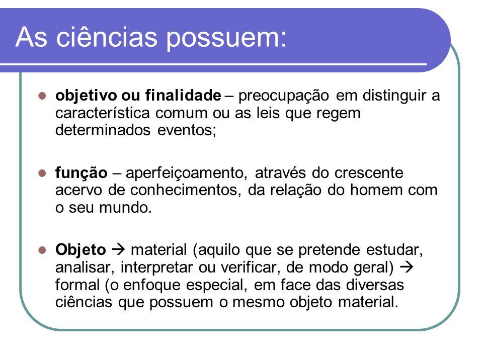 As ciências possuem: objetivo ou finalidade – preocupação em distinguir a característica comum ou as leis que regem determinados eventos;