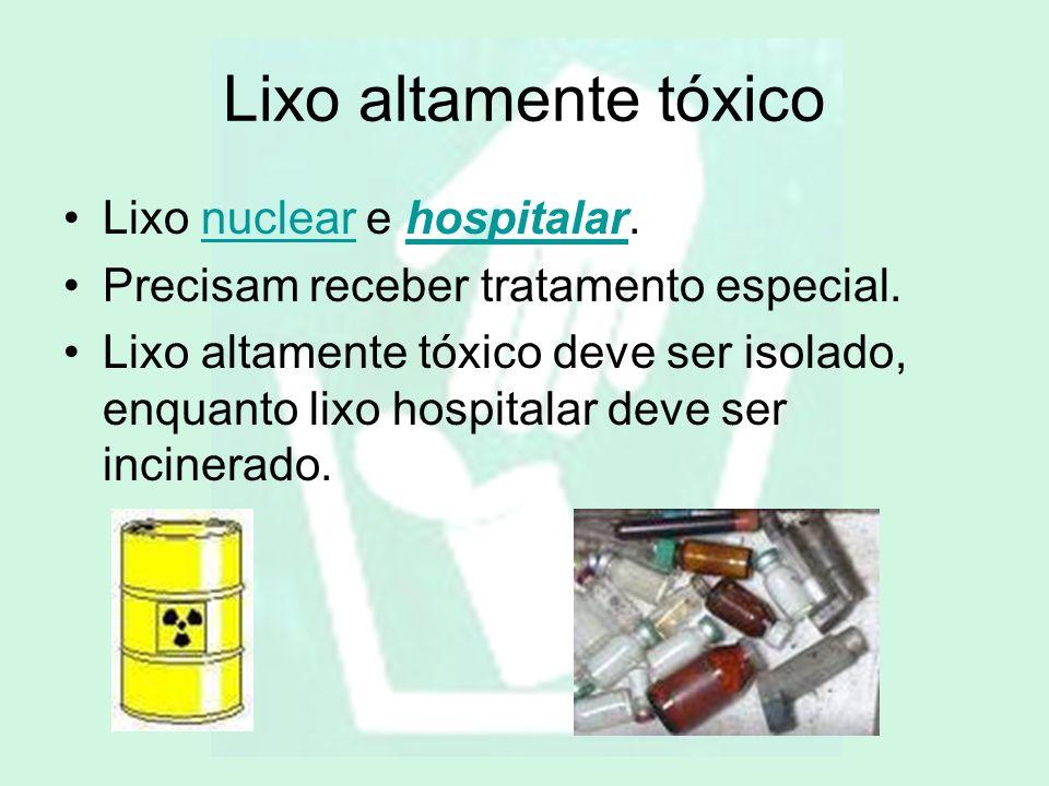 Lixo altamente tóxico Lixo nuclear e hospitalar.