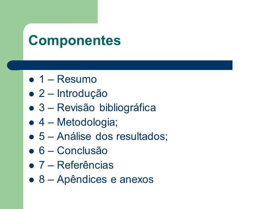 Componentes 1 – Resumo 2 – Introdução 3 – Revisão bibliográfica