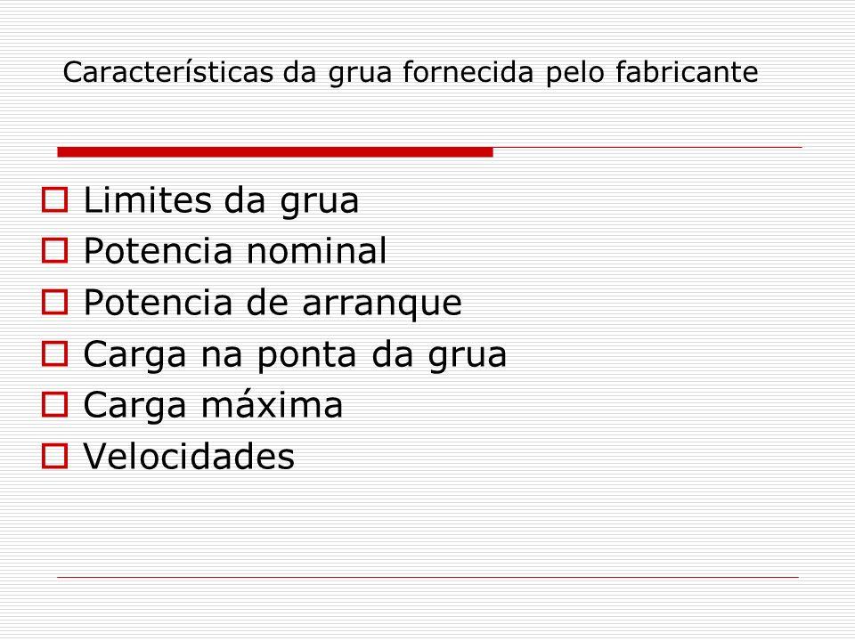 Características da grua fornecida pelo fabricante