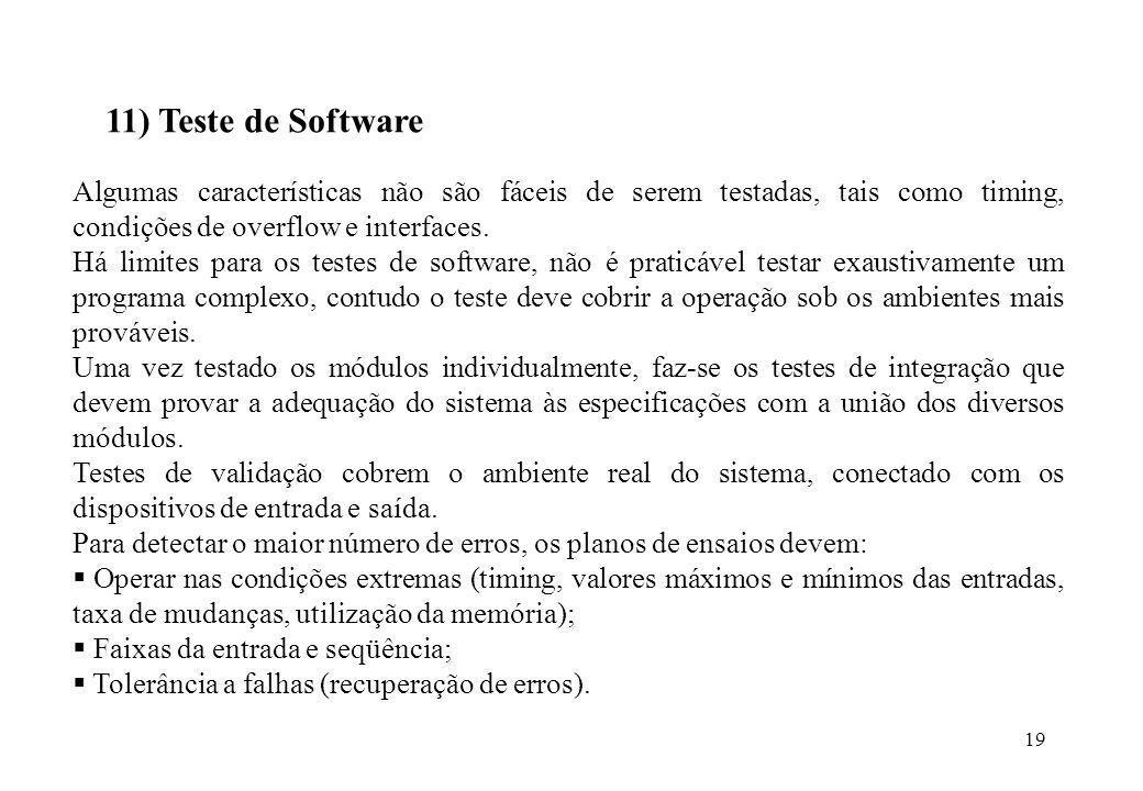 11) Teste de Software Algumas características não são fáceis de serem testadas, tais como timing, condições de overflow e interfaces.