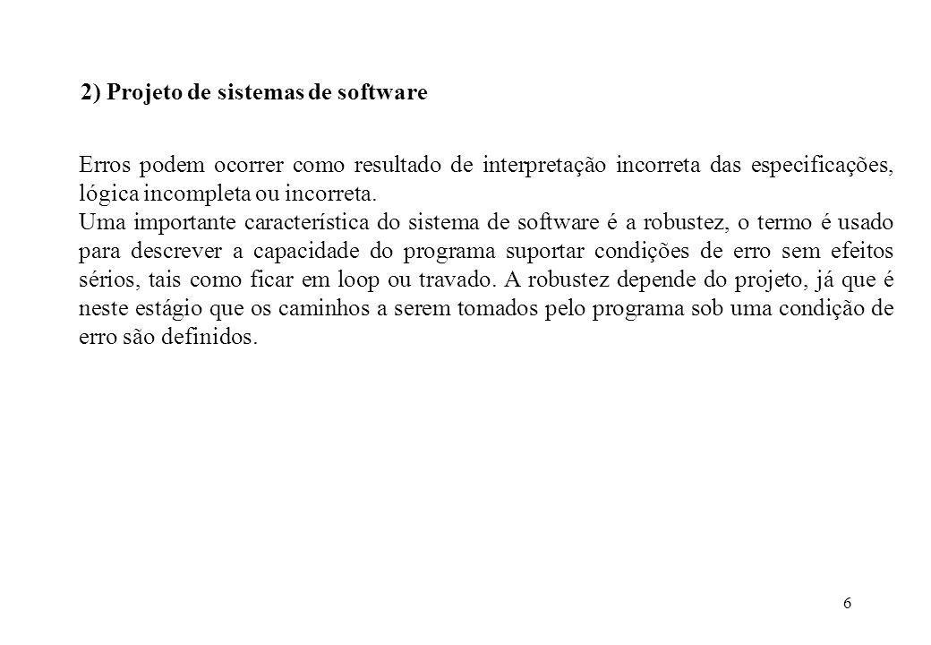 2) Projeto de sistemas de software