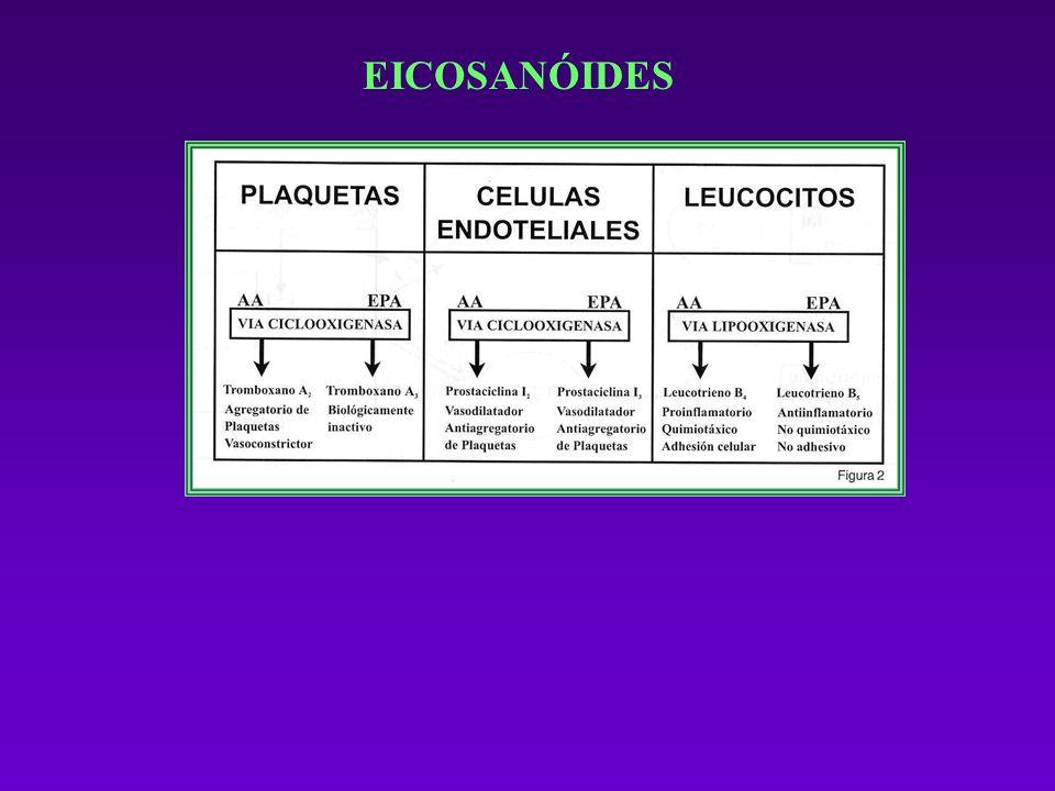 EICOSANÓIDES O AA e o EPA são substratos para os ecosanóides derivados de 20 carbonos com atividades de controle vascular e inflamatória.