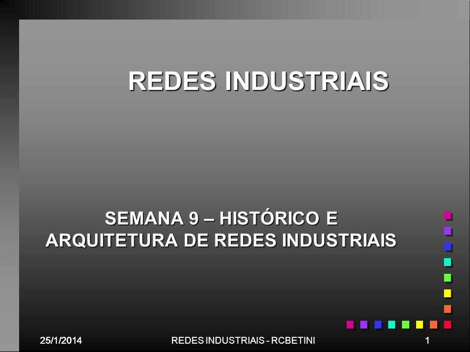 SEMANA 9 – HISTÓRICO E ARQUITETURA DE REDES INDUSTRIAIS