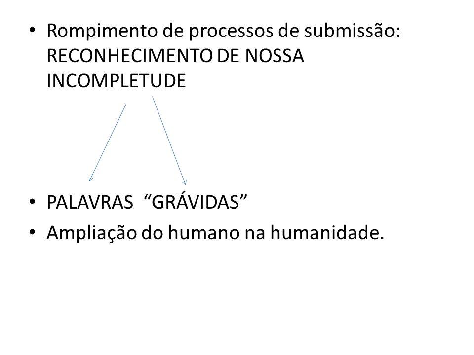 Rompimento de processos de submissão: RECONHECIMENTO DE NOSSA INCOMPLETUDE