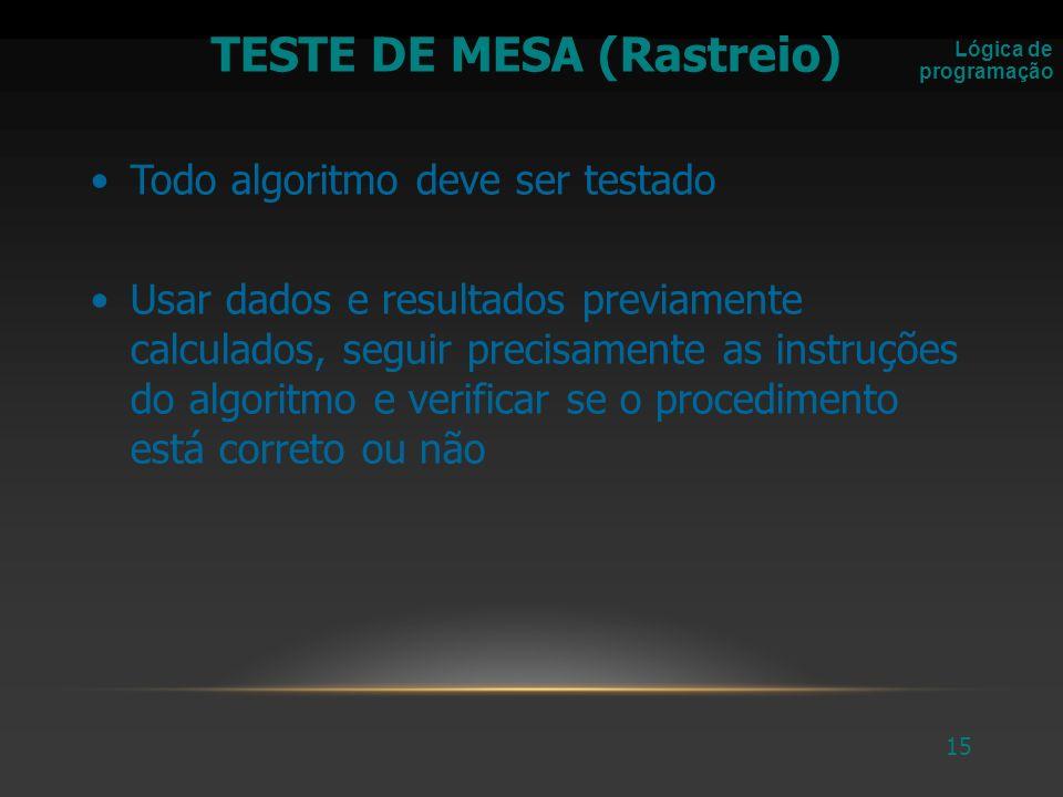 TESTE DE MESA (Rastreio)