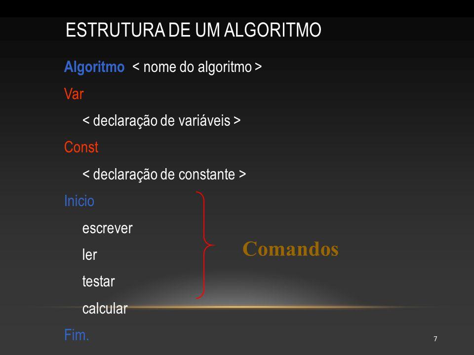 Comandos ESTRUTURA DE UM ALGORITMO