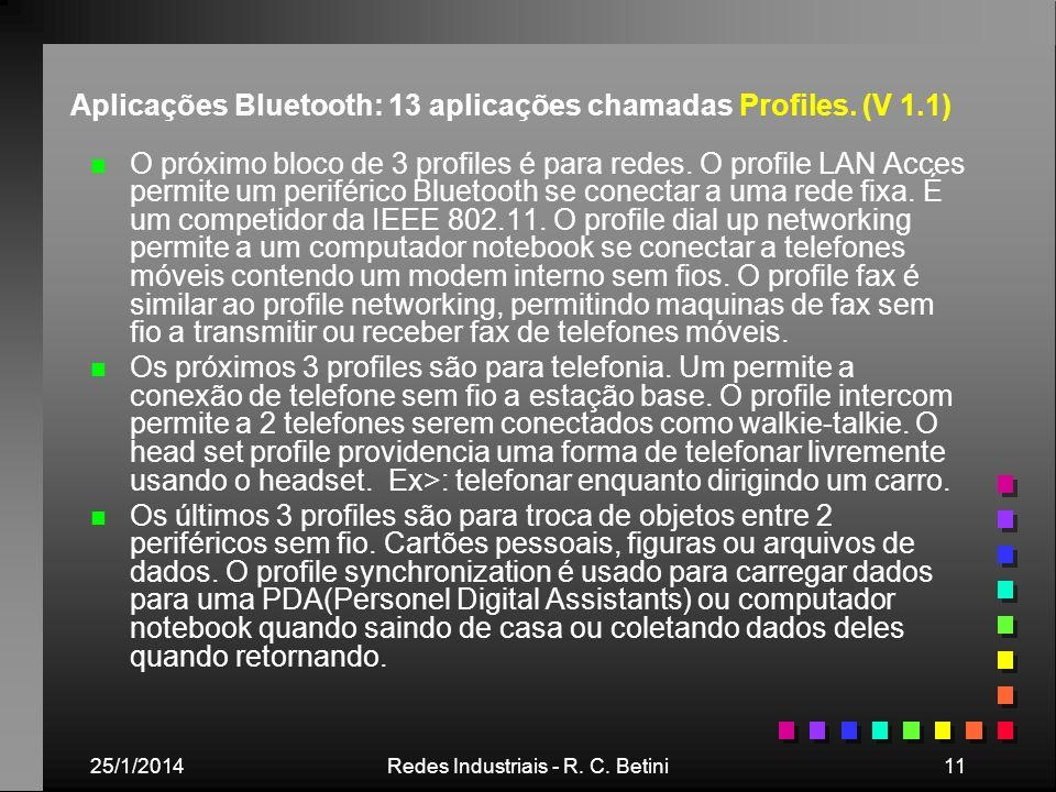 Aplicações Bluetooth: 13 aplicações chamadas Profiles. (V 1.1)