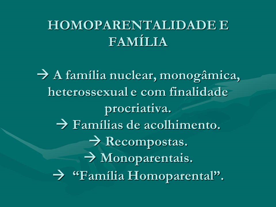 HOMOPARENTALIDADE E FAMÍLIA  A família nuclear, monogâmica, heterossexual e com finalidade procriativa.