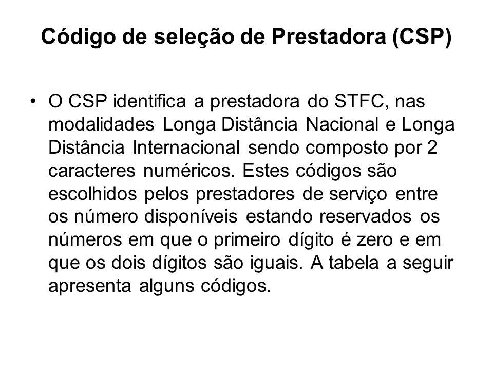 Código de seleção de Prestadora (CSP)