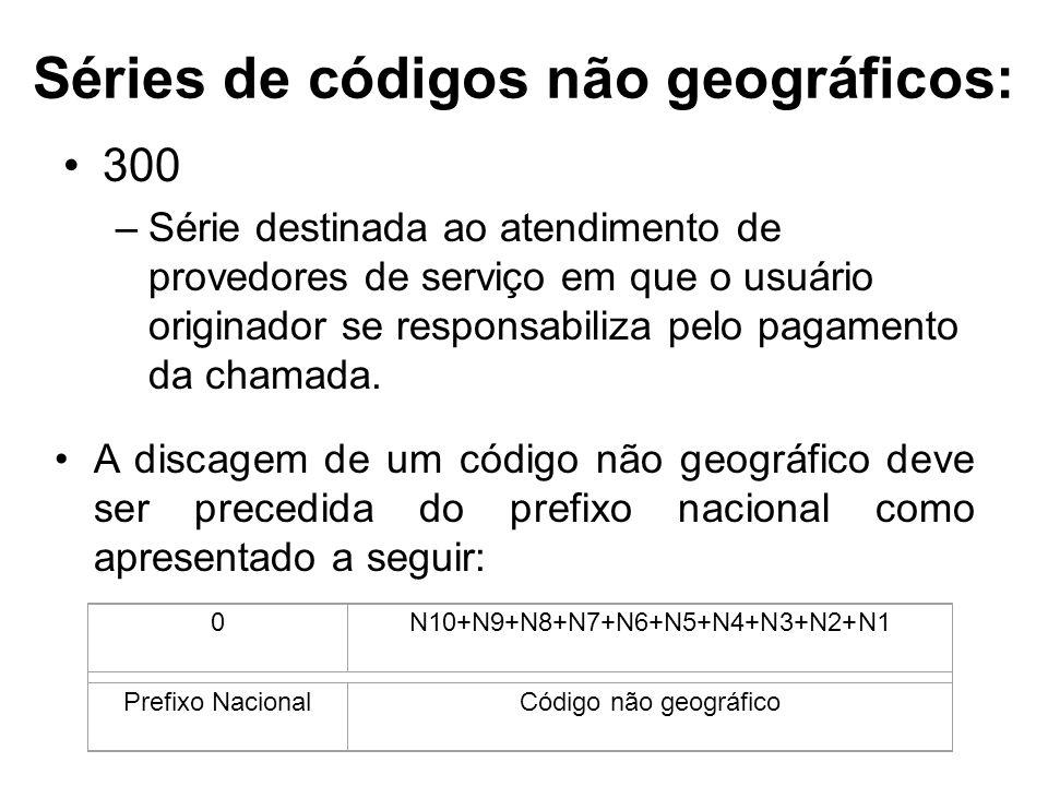 Séries de códigos não geográficos: