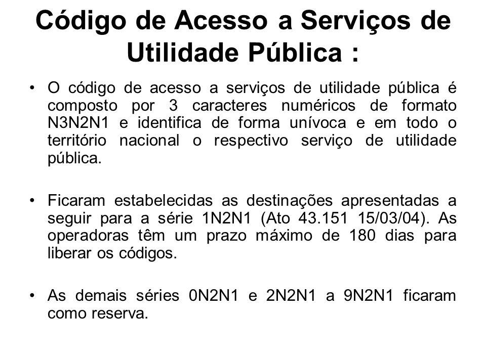 Código de Acesso a Serviços de Utilidade Pública :