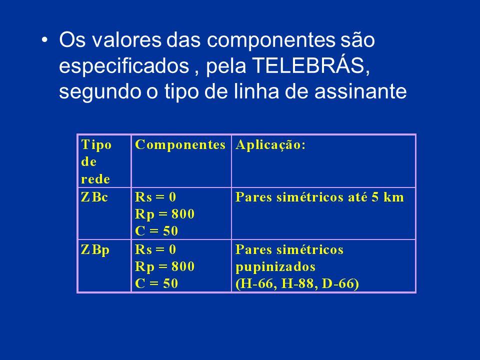 Os valores das componentes são especificados , pela TELEBRÁS, segundo o tipo de linha de assinante