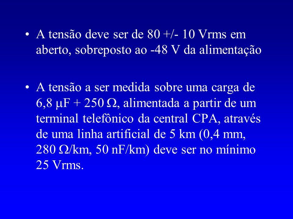 A tensão deve ser de 80 +/- 10 Vrms em aberto, sobreposto ao -48 V da alimentação
