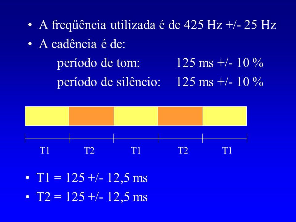 A freqüência utilizada é de 425 Hz +/- 25 Hz A cadência é de: