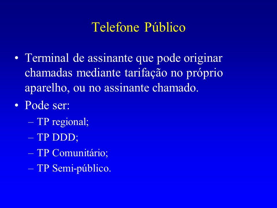 Telefone PúblicoTerminal de assinante que pode originar chamadas mediante tarifação no próprio aparelho, ou no assinante chamado.
