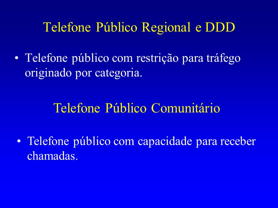 Telefone Público Regional e DDD