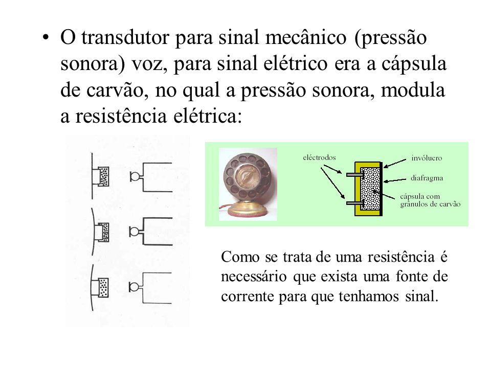 O transdutor para sinal mecânico (pressão sonora) voz, para sinal elétrico era a cápsula de carvão, no qual a pressão sonora, modula a resistência elétrica: