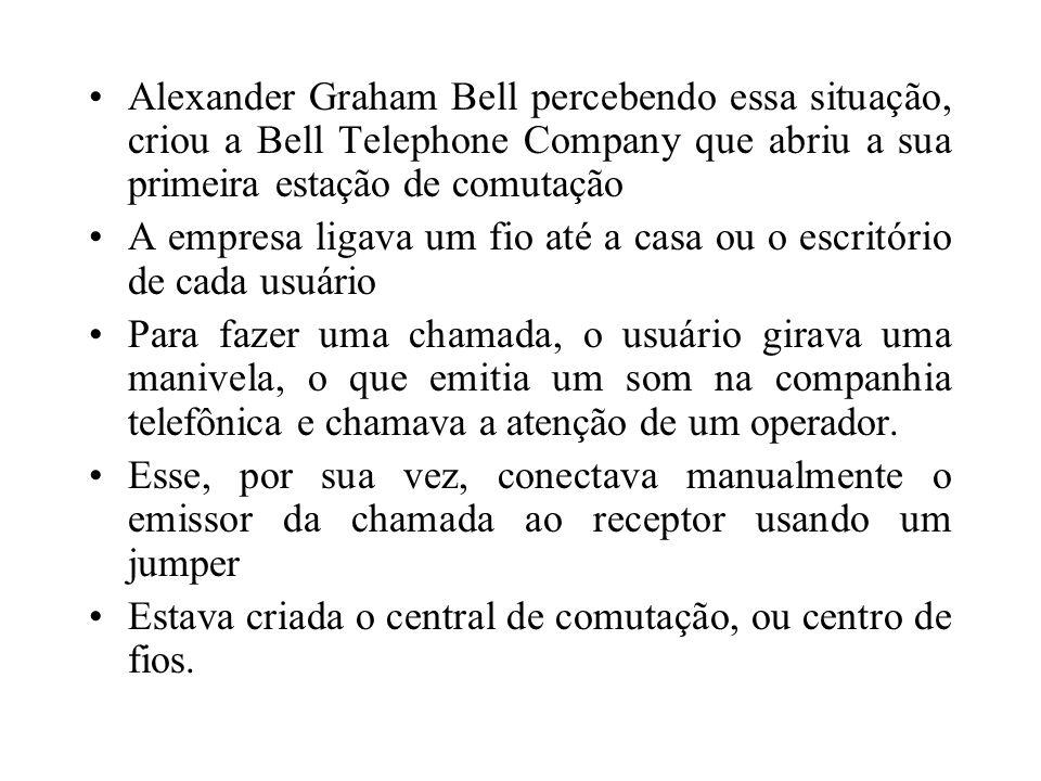 Alexander Graham Bell percebendo essa situação, criou a Bell Telephone Company que abriu a sua primeira estação de comutação