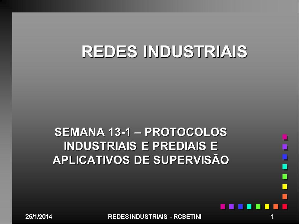 REDES INDUSTRIAISSEMANA 13-1 – PROTOCOLOS INDUSTRIAIS E PREDIAIS E APLICATIVOS DE SUPERVISÃO. 25/03/2017.