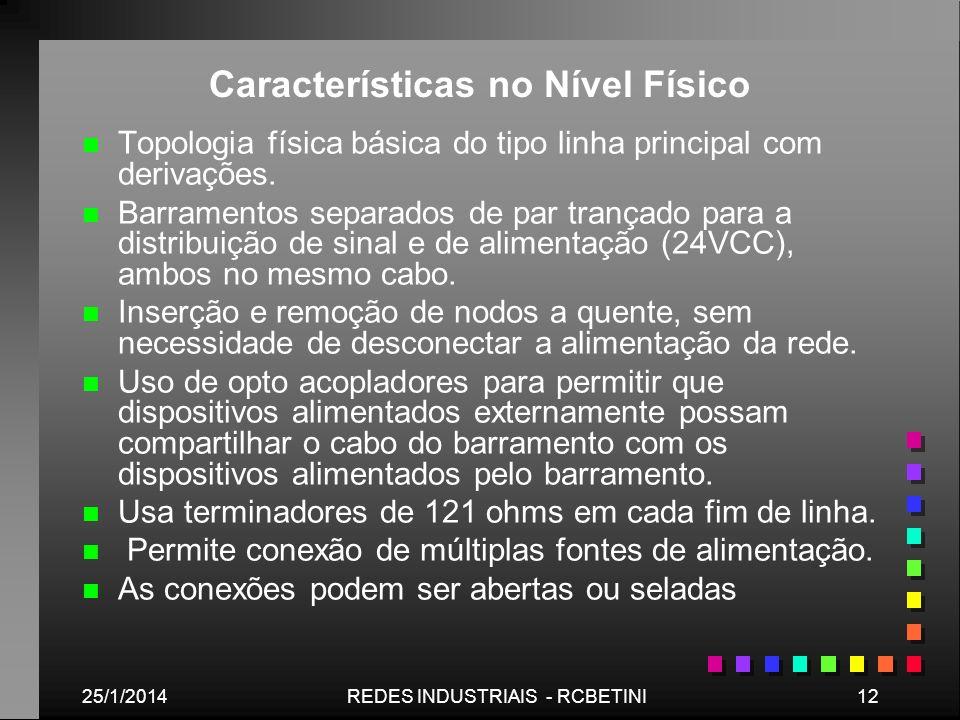 Características no Nível Físico