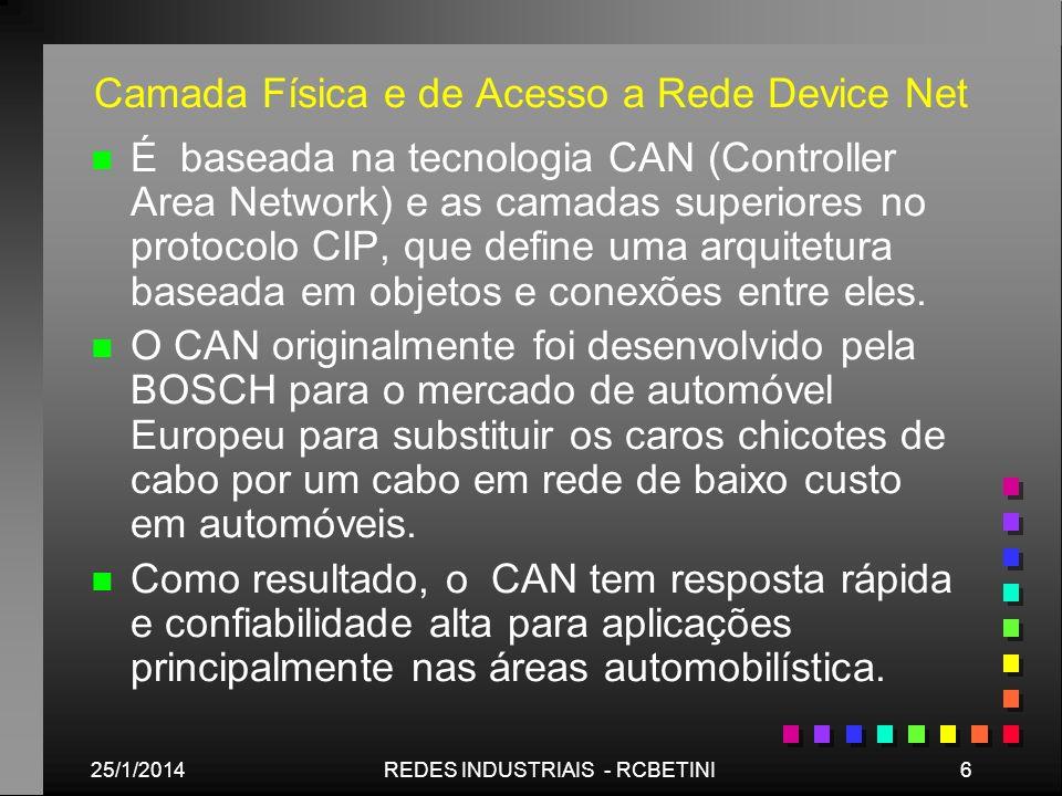 Camada Física e de Acesso a Rede Device Net