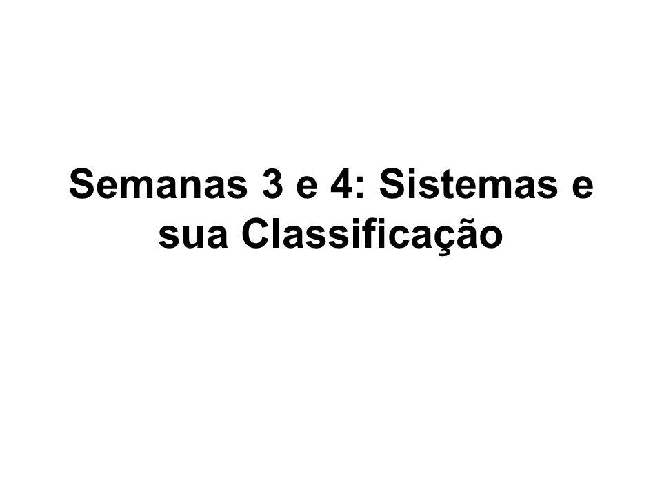 Semanas 3 e 4: Sistemas e sua Classificação