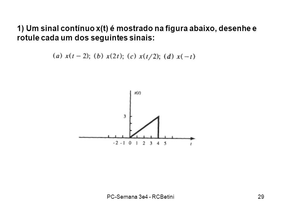 1) Um sinal contínuo x(t) é mostrado na figura abaixo, desenhe e rotule cada um dos seguintes sinais: