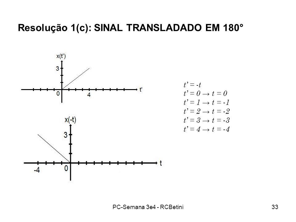 Resolução 1(c): SINAL TRANSLADADO EM 180°