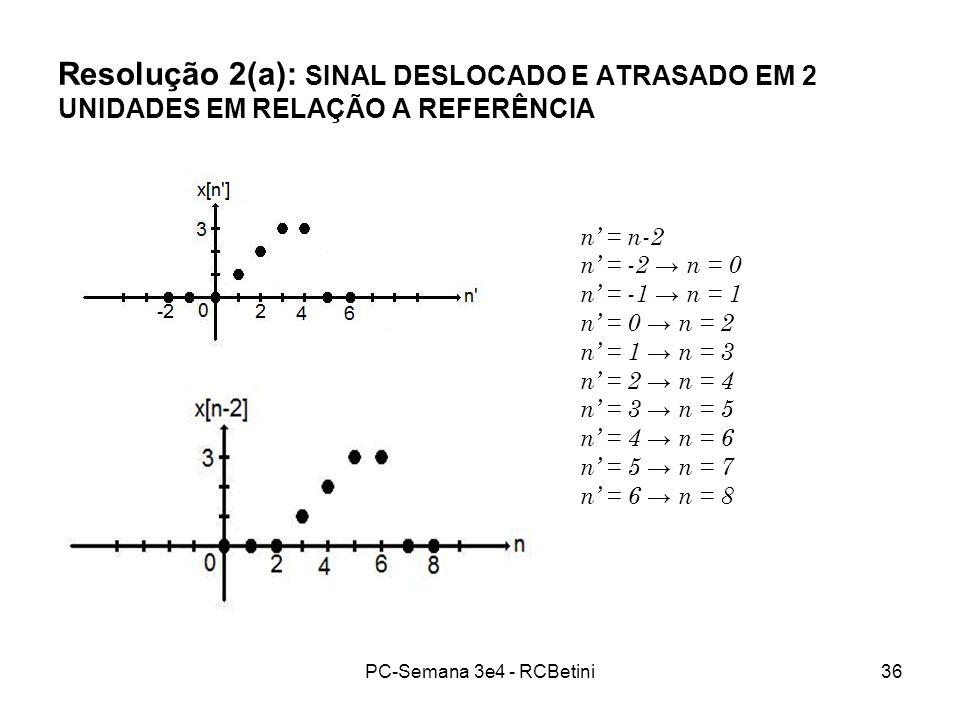 Resolução 2(a): SINAL DESLOCADO E ATRASADO EM 2 UNIDADES EM RELAÇÃO A REFERÊNCIA