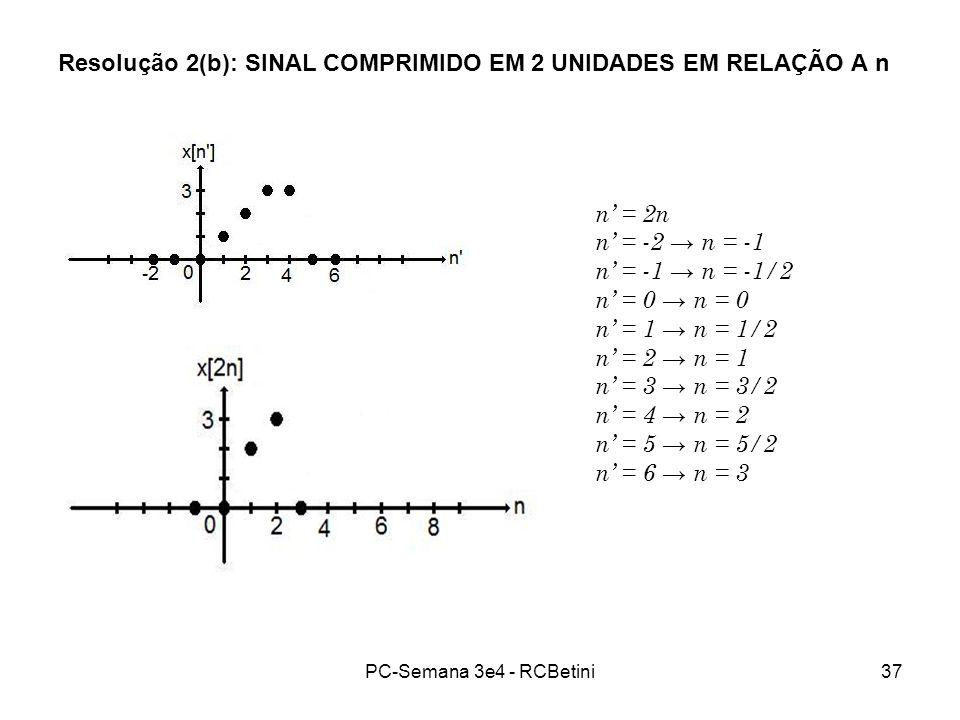 Resolução 2(b): SINAL COMPRIMIDO EM 2 UNIDADES EM RELAÇÃO A n
