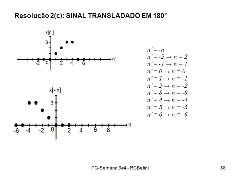 Resolução 2(c): SINAL TRANSLADADO EM 180°