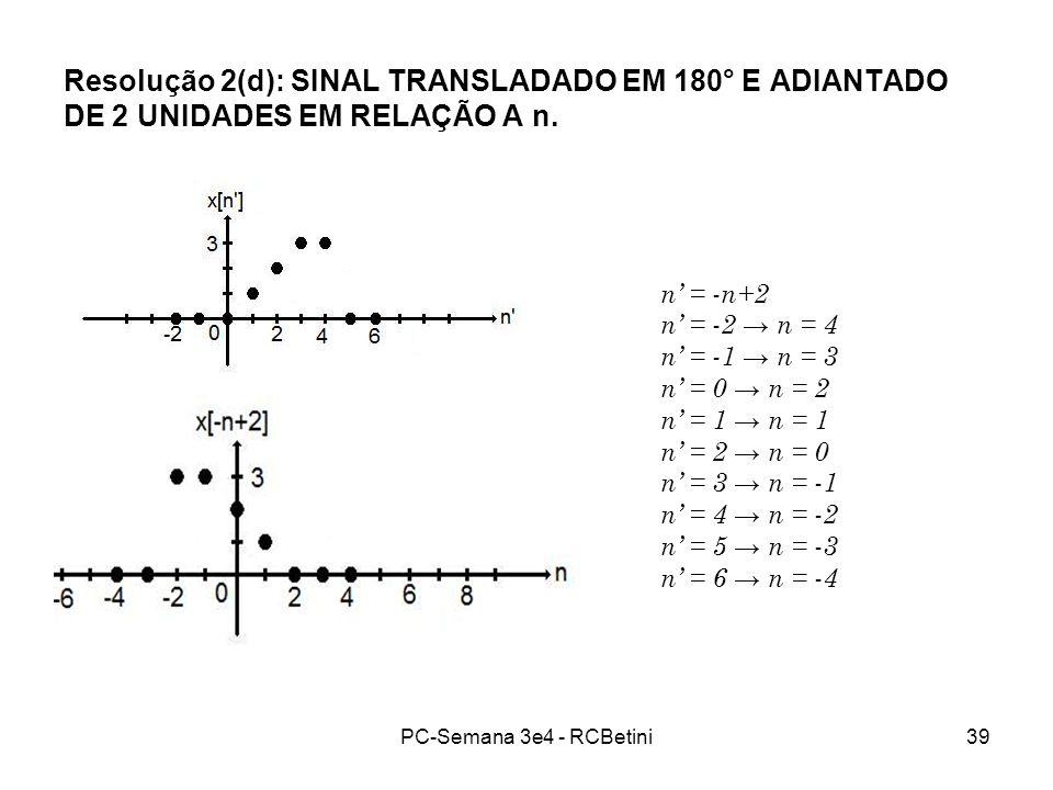 Resolução 2(d): SINAL TRANSLADADO EM 180° E ADIANTADO DE 2 UNIDADES EM RELAÇÃO A n.