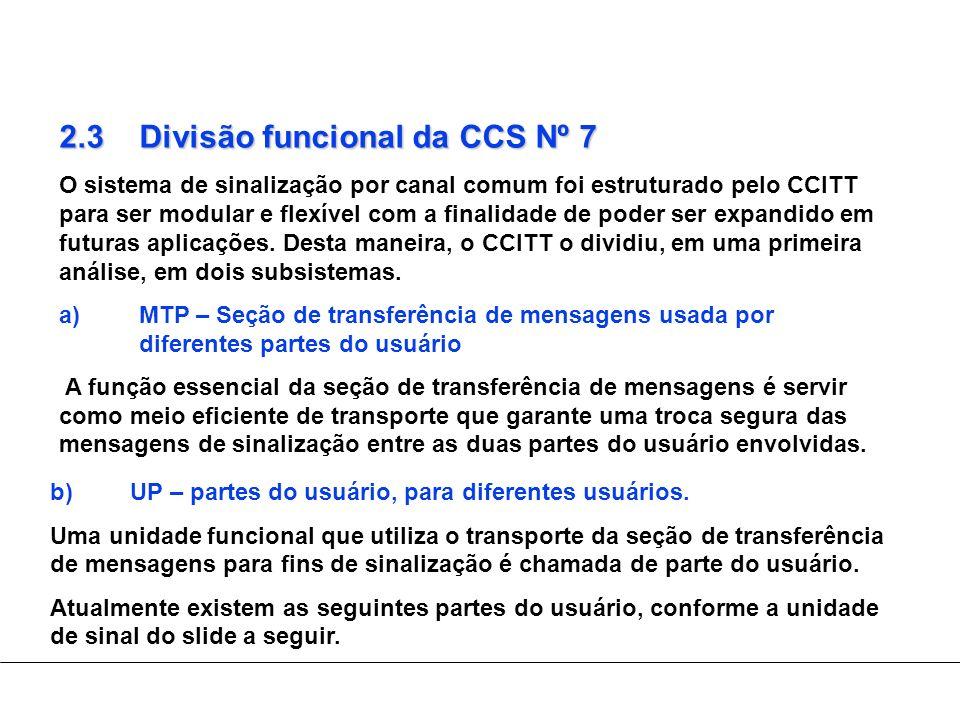 2.3 Divisão funcional da CCS Nº 7