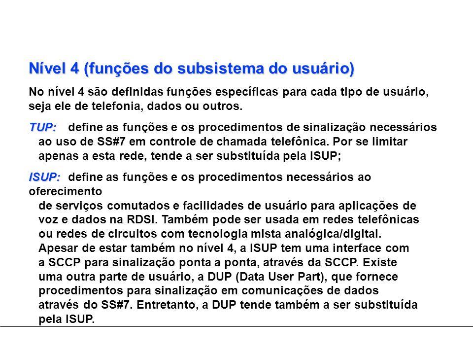 Nível 4 (funções do subsistema do usuário)