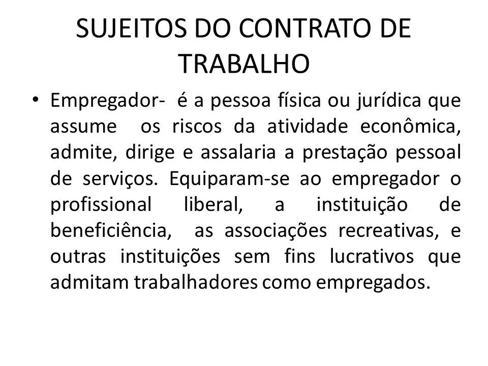 SUJEITOS DO CONTRATO DE TRABALHO