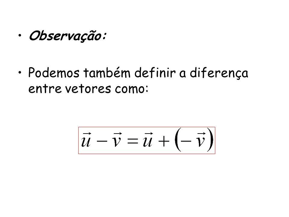Observação: Podemos também definir a diferença entre vetores como:
