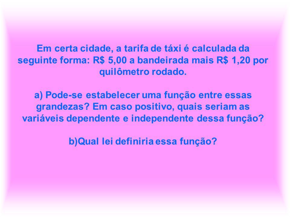 Em certa cidade, a tarifa de táxi é calculada da seguinte forma: R$ 5,00 a bandeirada mais R$ 1,20 por quilômetro rodado.
