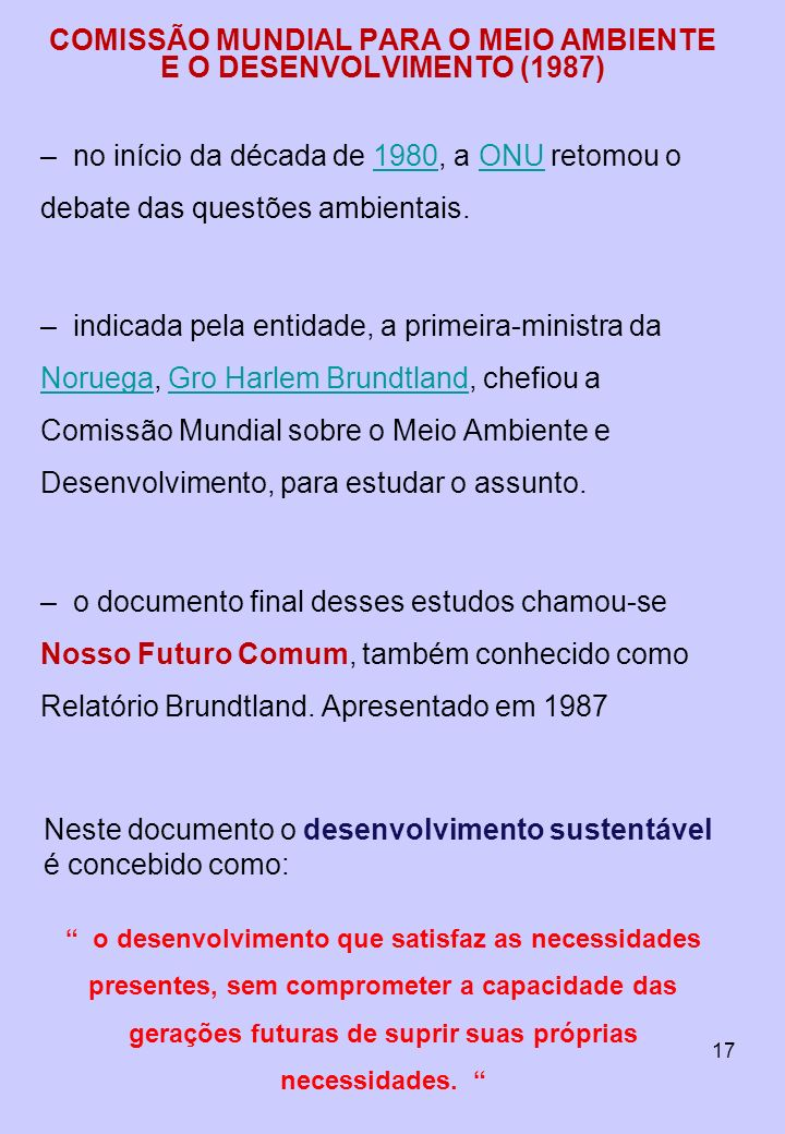 COMISSÃO MUNDIAL PARA O MEIO AMBIENTE E O DESENVOLVIMENTO (1987)