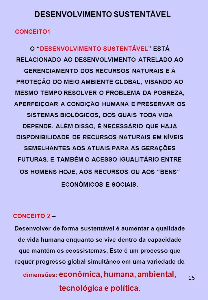 DESENVOLVIMENTO SUSTENTÁVEL OS HOMENS HOJE, AOS RECURSOS OU AOS BENS